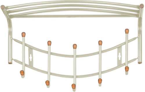 Вешалка настенная Ника Премиум ВНП4Д Б с полкой (5 крючков с наконечниками из дерева) цвет-бежевый