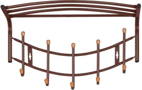 Вешалка настенная Ника Премиум ВНП4Д К с полкой (5 крючков с наконечниками из дерева) цвет-коричневый