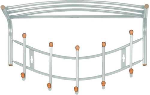 Вешалка настенная Ника Премиум ВНП4Д С с полкой (5 крючков с наконечниками из дерева) цвет-серый