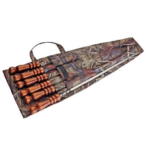 Набор шампуров Колчан SM-116 в чехле (720х12х3 мм) 6шт., без полировки с деревянной ручкой