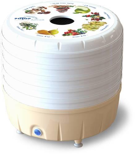 Сушилка для овощей и фруктов Ротор-Алтай СШ-022 (цветная уп-ка, круглая, 5 белых поддонов)
