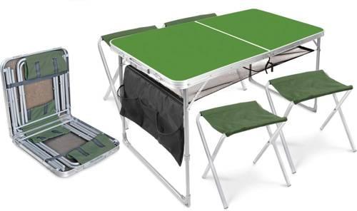 Набор туристический ССТ-К3 2 столешница хаки (стол влагостойкий с полкой и карманом + 4 складных стула хаки)