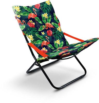 Кресло-шезлонг складное с мягким матрасом Ника Haushalt HHK4P F Цвет-Принт с фламинго