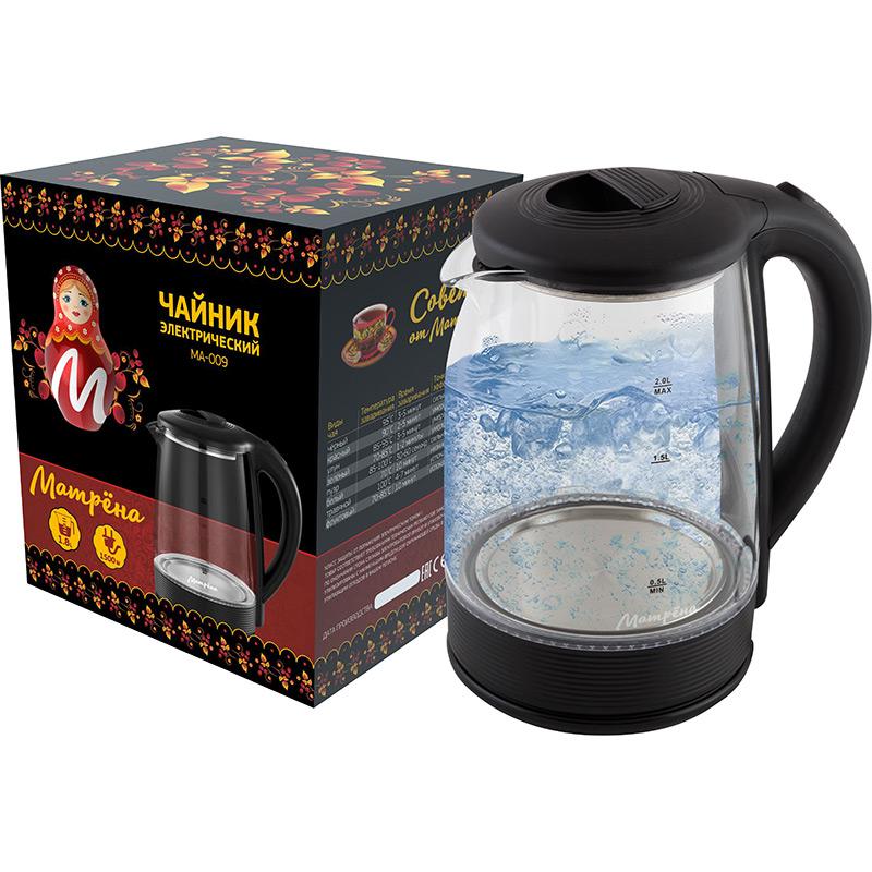 Матрена МА-009 чайник электрический дисковый, 2л, 1500Вт, стекло, черный
