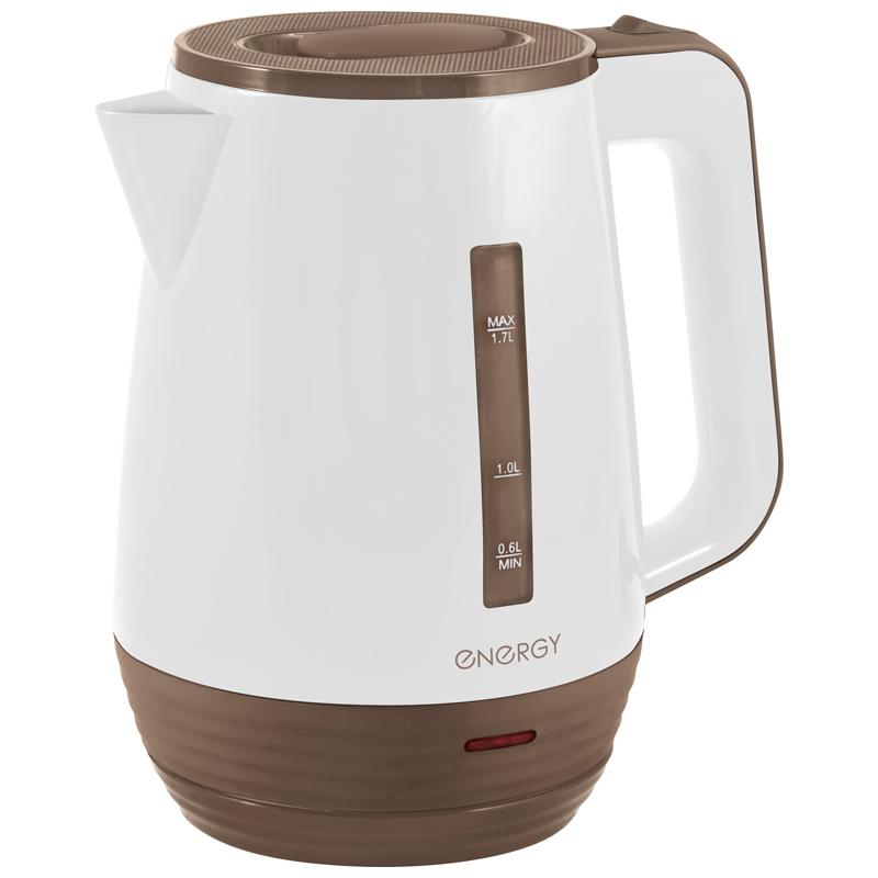 Energy E-235 чайник электрический дисковый, 1.7л, 1500Вт, пластиковый, шкала уровня воды, белый