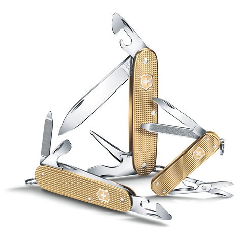 Нож Victorinox Alox Cadet, 84 мм, 9 функций, золотистый (подар. упаковка) (0.2601.L19)