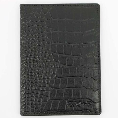 Обложка для паспорта S.Quire, натуральная воловья кожа, черный, фактурная, 9,9x13,4 см (6400-BK CROCO)