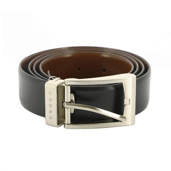Ремень Cross Manresa двухсторонний, кожа наппа гладкая, черный коричневый, 117х3,5 см (AC308414-XL)