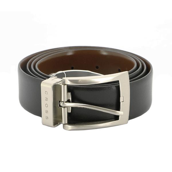 Ремень Cross Manresa двухсторонний, кожа наппа гладкая, черный коричневый, 117х3,5 см (AC308413-XL)