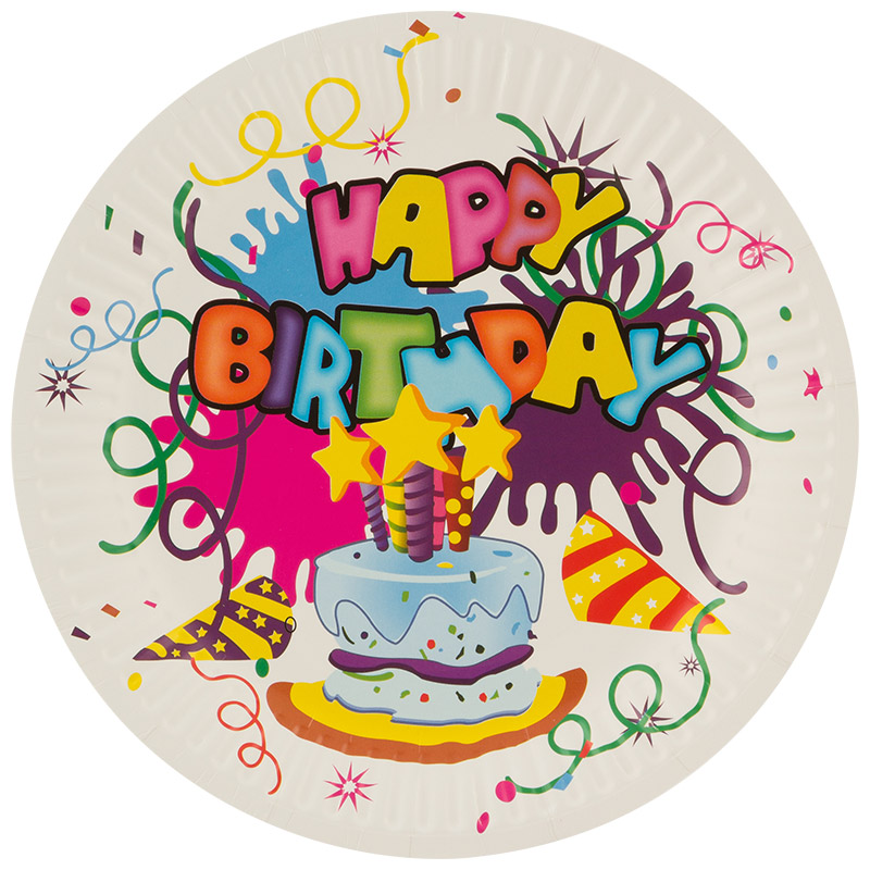 Набор бумажных тарелок Happy Birthday Волшебная страна 18 см, 6 шт (007148)