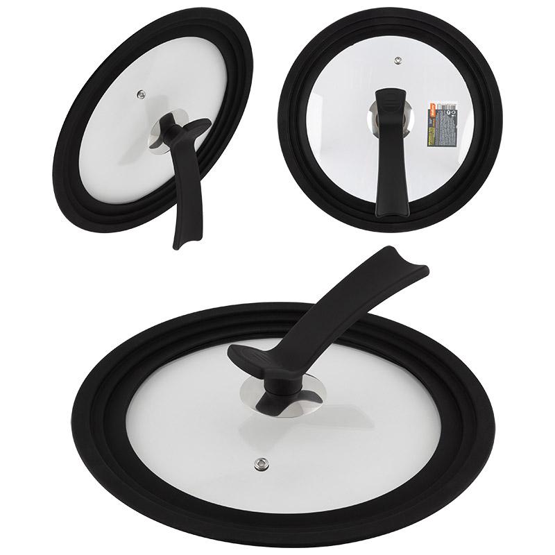 Крышка универсальная из закал стекла с рукояткой soft-touch VETRO-SPECIAL мультиразмер 24 26 28см (007421)
