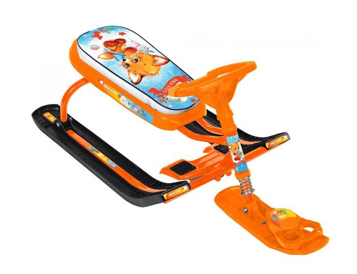 Снегокат детский Тимка Спорт 5 ТС5 Л2 (рисунок-с Лисенком, оранжевый каркас)
