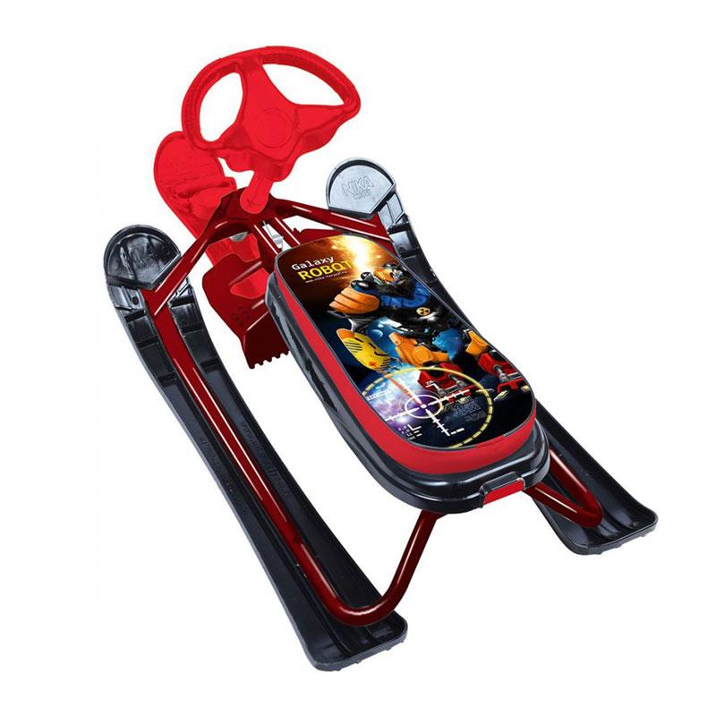 Снегокат детский Ника Кросс СНК Р2 (рисунок-Робот, красный каркас)
